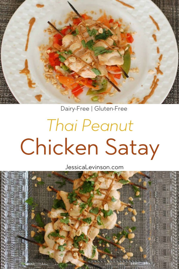 Thai Peanut Chicken Satay with Text Overlay