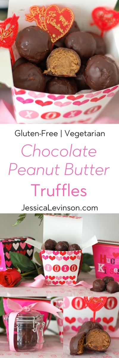 Rich & creamy chocolate peanut butter truffles are a decadent treat made healthier with Greek yogurt, maple syrup, natural peanut butter, & dark chocolate. #ValentinesDay #chocolate #peanutbutter #truffles #dessertrecipe #glutenfree #vegetarian