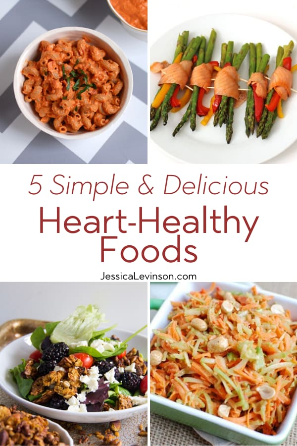 Heart-Healthy Foods Collage with Text Overlay
