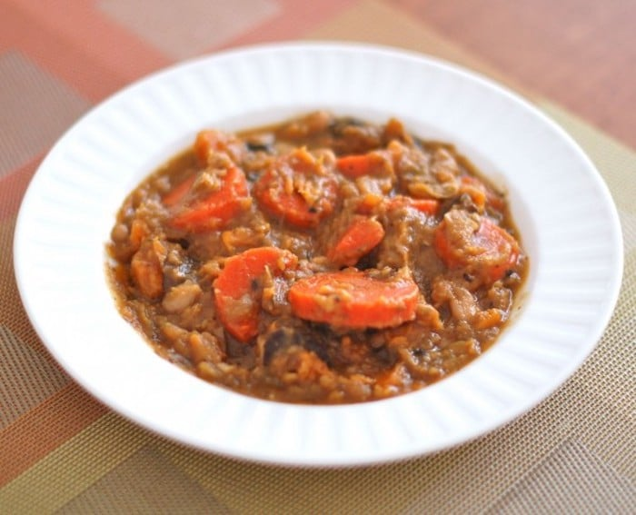 Hearty Beef and Vegetable Stew in White Bowl