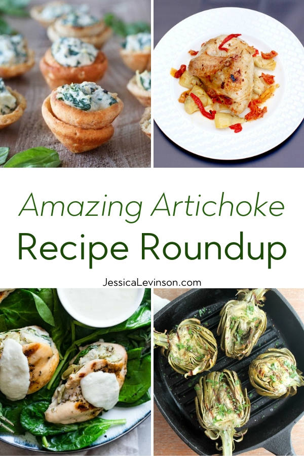 Artichoke Recipe Roundup with Text overlay