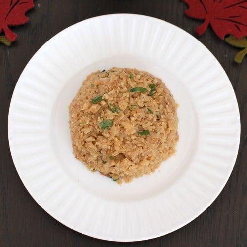 "Crispy Cauliflower ""Rice"" vegetarian, grain-free side dish."