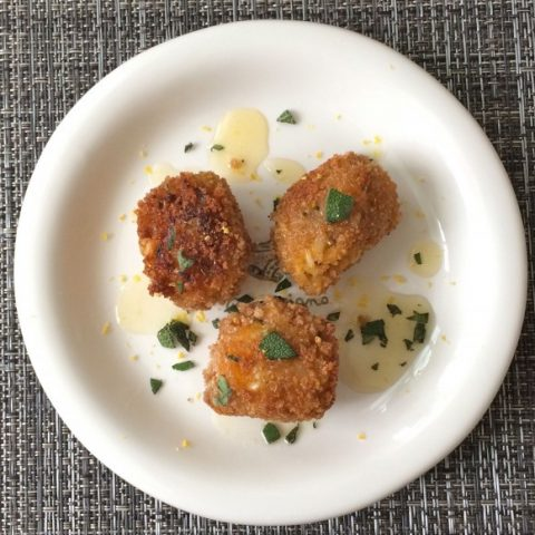 Butternut Sage Risotto Balls with Lemon Honey Drizzle