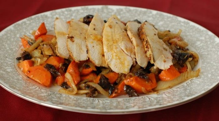 Roasted Chicken with Fennel Sliced on Serving Platter