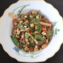 Peanut Soba Noodles with Crispy Tofu and Spring Vegetables | Nutritioulicious
