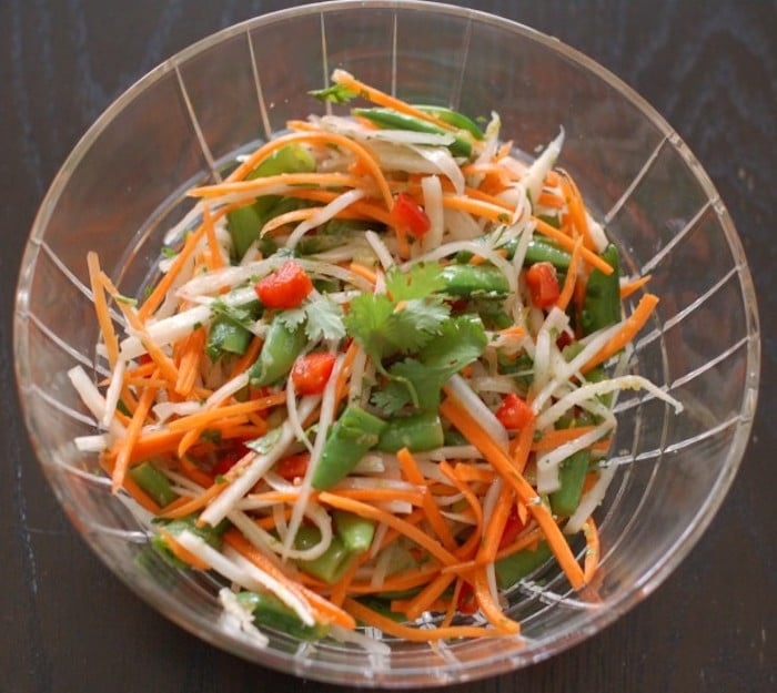 Thai Citrus Salad in Clear Bowl