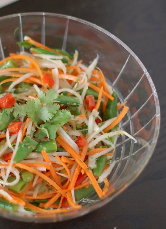 Close Up of Thai Citrus Salad in Clear Bowl