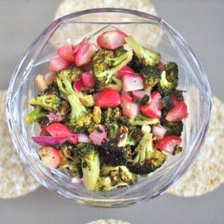 This Broccoli Radish Salad is a quick and easy weeknight salad with some savory and sweet flavors and a bit of zing from the lemon mint vinaigrette. @JlevinsonRD