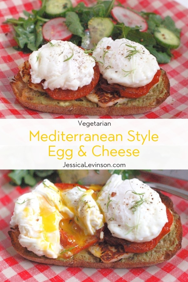 Smoky halloumi, fragrant roasted tomatoes, creamy avocado, and poached eggs top whole grain sourdough bread in this Mediterranean style egg and cheese sandwich.