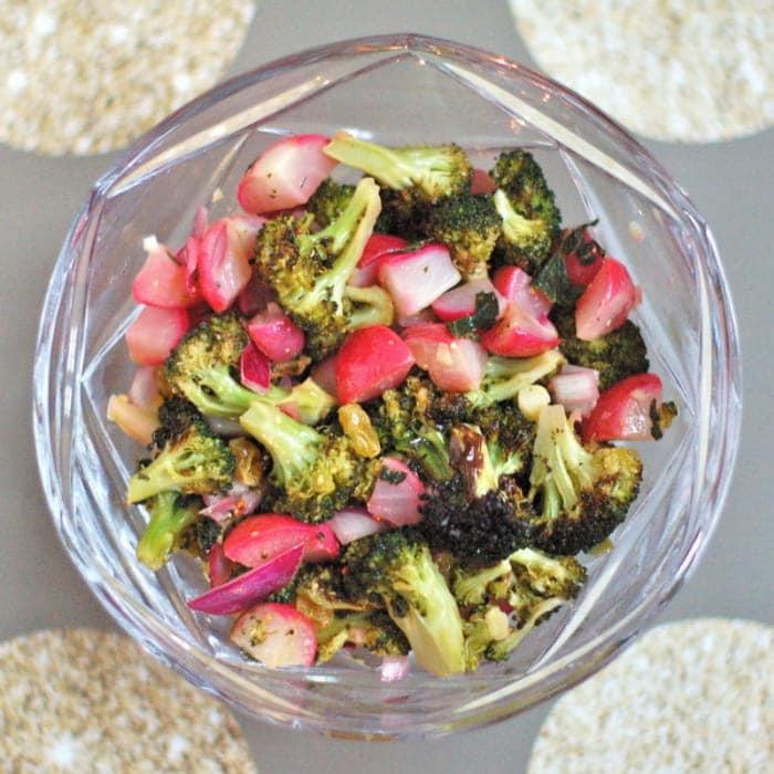 Roasted Broccoli Radish Salad in Bowl Overhead