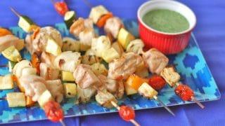 Summer Chicken Kebabs with Herb Sauce