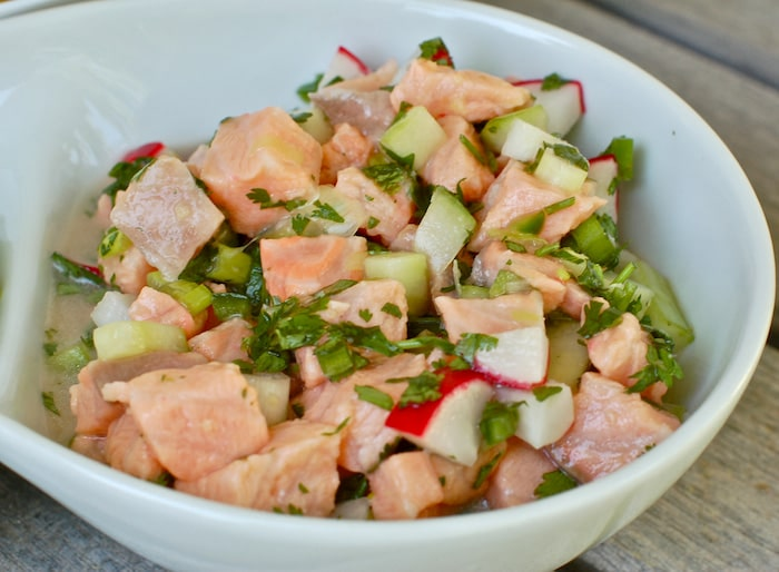 Close up of Salmon Ceviche with Cucumbers