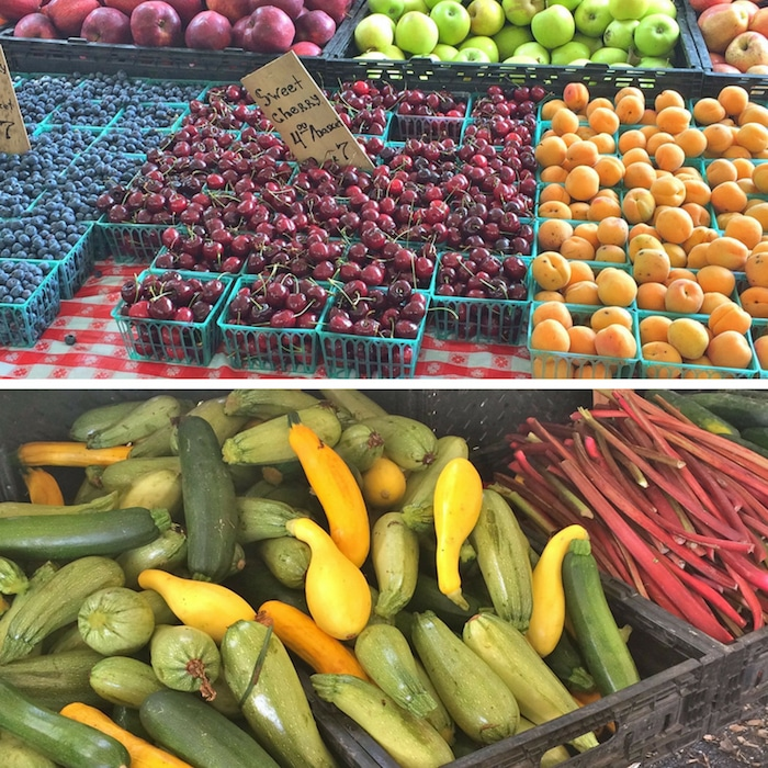 cherries, blueberries, apricots, zucchini and summer squash, and rhubarb at local farmers market in New Rochelle, NY