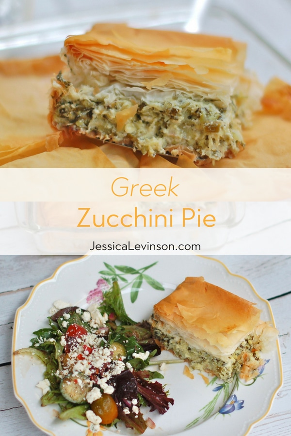 Golden crisp on the outside, light and fluffy on the inside, this savory zucchini pie with mint speaks summer. Get the recipe at JessicaLevinson.com | #zucchini #summerrecipes #greekfood #vegetarian #meatlessmonday #meatlessmeal