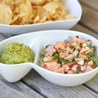 Salmon Ceviche with Cucumbers served with guacamole