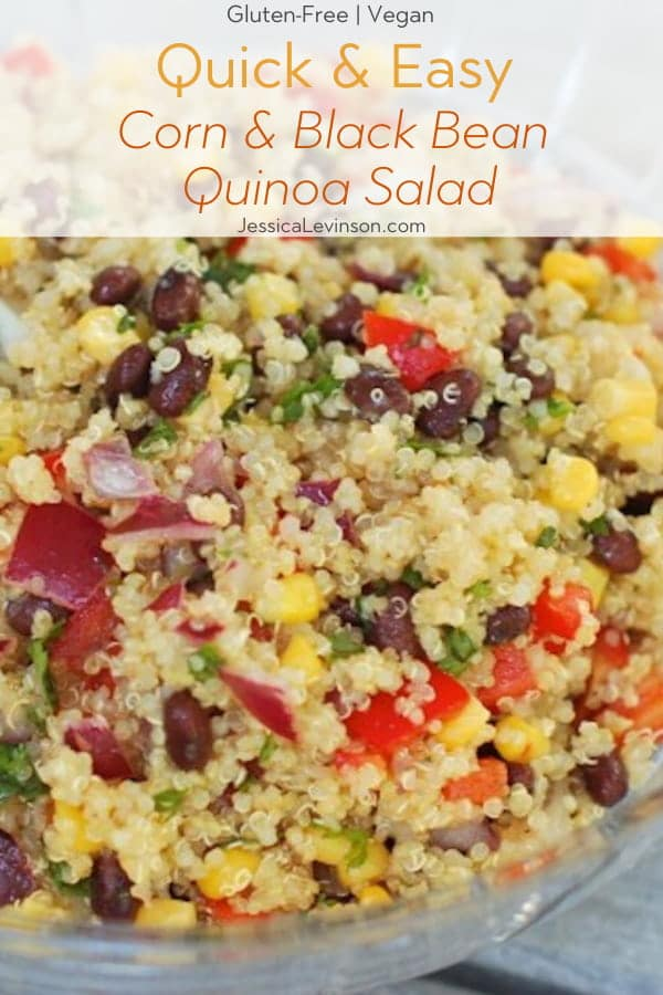 Corn and Black Bean Quinoa Salad with Text Overlay