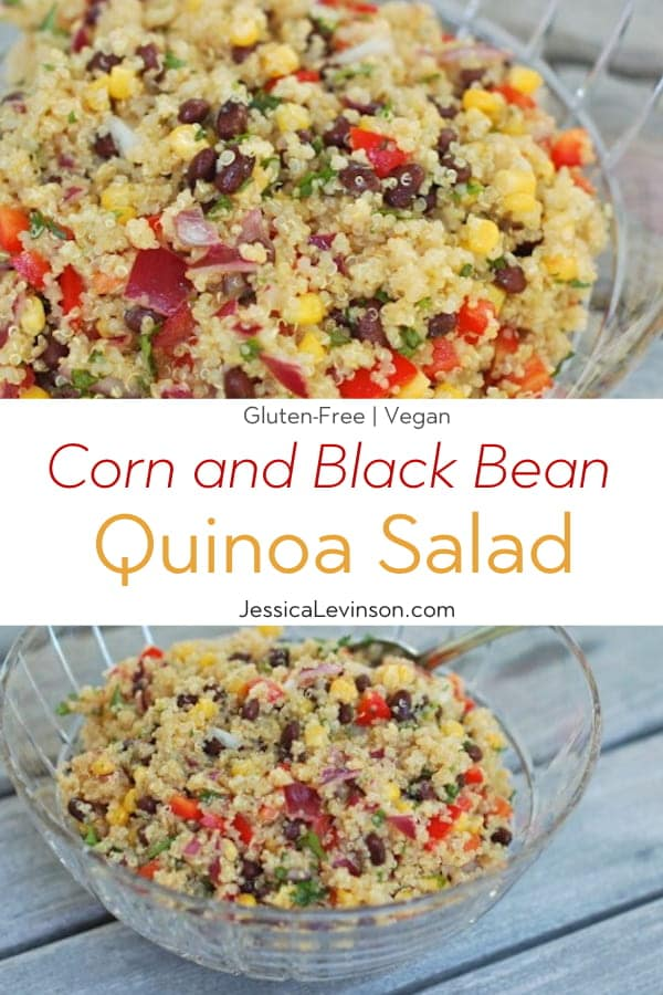 Corn and Black Bean Quinoa Salad Collage with Text Overlay