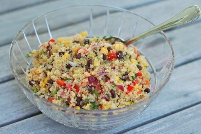 Corn and Black Bean Quinoa Salad in Glass Bowl