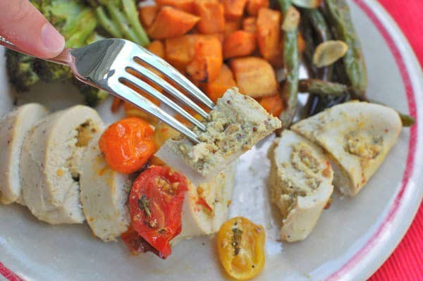 Pistachio-Stuffed Chicken on Fork