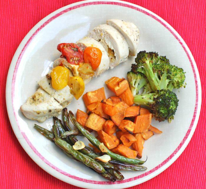 Pistachio-Stuffed Chicken on Plate Overhead