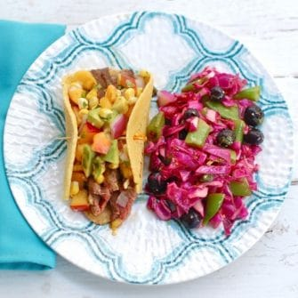 Soy-Marinated Steak Tacos with Red Cabbage Slaw