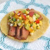 Soy-Marinated Steak Tacos with Nectarine Corn Salsa