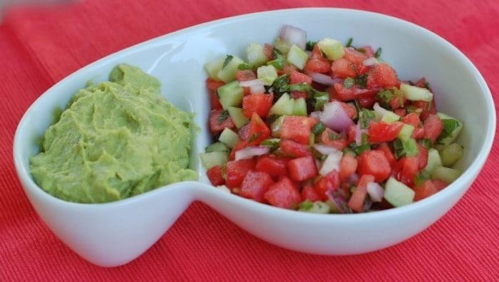 Watermelon Salsa in Dish with Guacamole