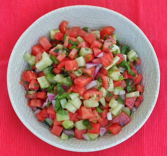 Watermelon Salsa in White Bowl Overhead