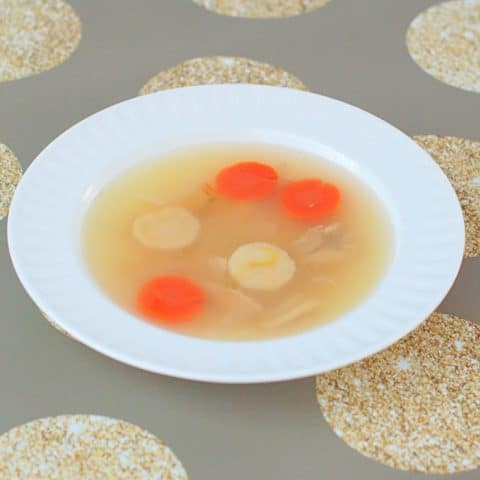A family favorite, traditional chicken soup is soothing and delicious. Perfect to start any Jewish holiday meal or to cure a cold. Recipe at JessicaLevinson.com | #GlutenFree #DairyFree #EggFree #kosher #jewishfood #chickensoup #soup