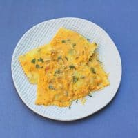 Yogurt, pumpkin, and spices come together in this creamy fall-friendly pasta sauce. Use as a stuffing or topping for ravioli or your favorite pasta dish! Get the vegetarian recipe at Small Bites by Jessica.