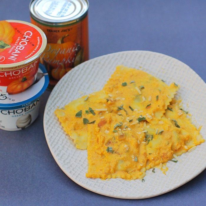 creamy gluten-free vegetarian pumpkin sauce is delicious on pasta or ravioli