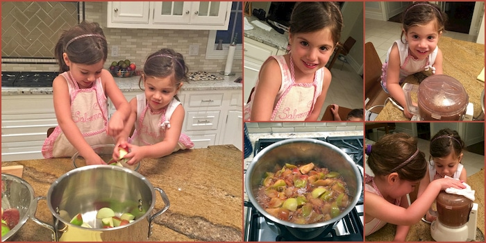 making homemade applesauce with the kids