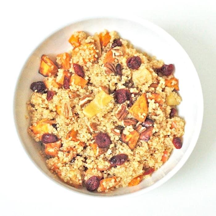 Spiced Quinoa in White Bowl