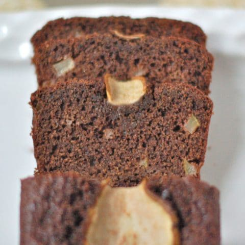 Rich chocolate pear bread is easy to make, moist, and delicious. Plus it's a good source of fiber and calcium. Vegetarian and nut-free.