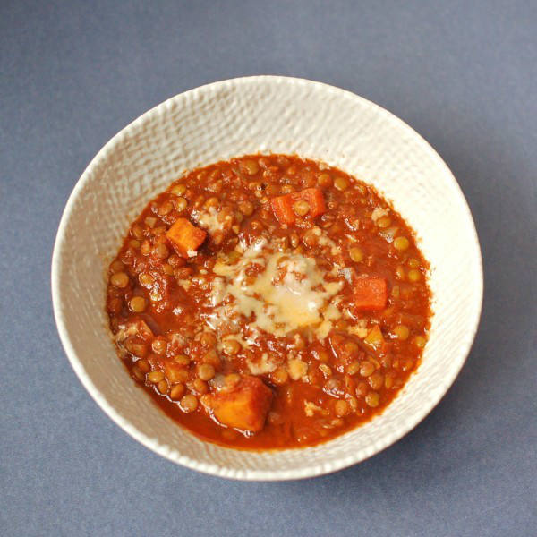 Overhead Hearty Vegetable Lentil Chili