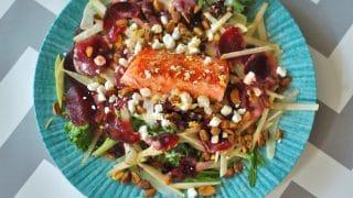 Salmon Waldorf Salad with Citrus Yogurt Vinaigrette