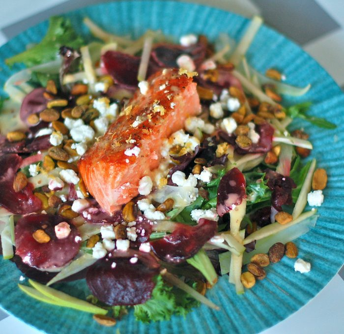Salmon Waldorf Salad Close Up