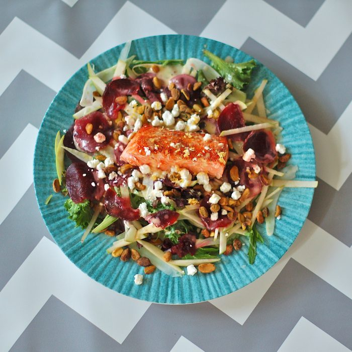 Salmon Waldorf Salad Overhead