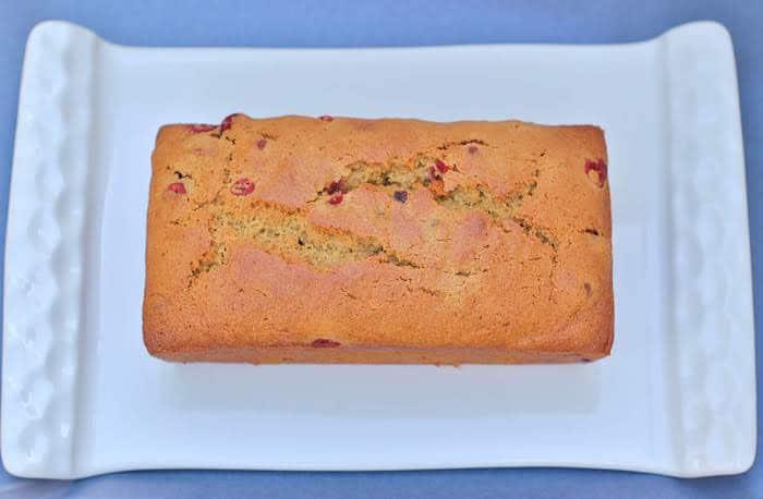 Cranberry Orange Bread Loaf on Plate