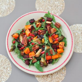 Your favorite winter veggies go from side dish to main dish in this seasonal roasted root vegetable salad bursting with color, flavor, and nutrition.