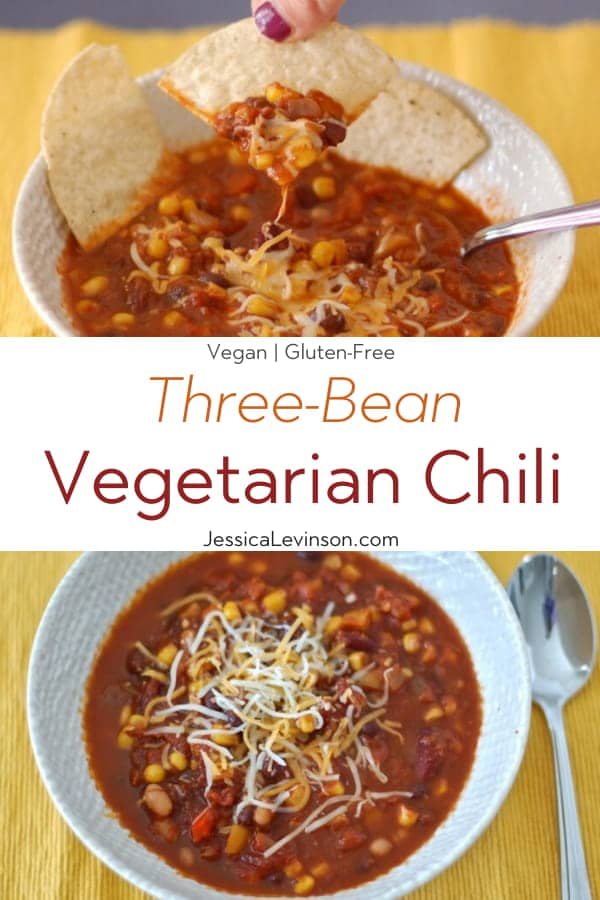 Three-Bean Vegetarian Chili Collage with Text Overlay