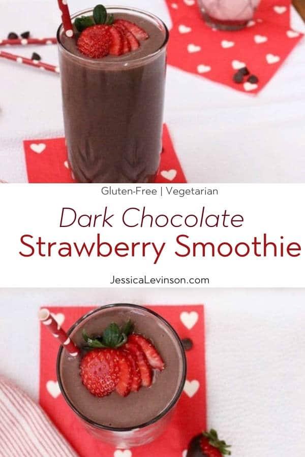 Dark Chocolate Strawberry Smoothie Recipe with Text Overlay