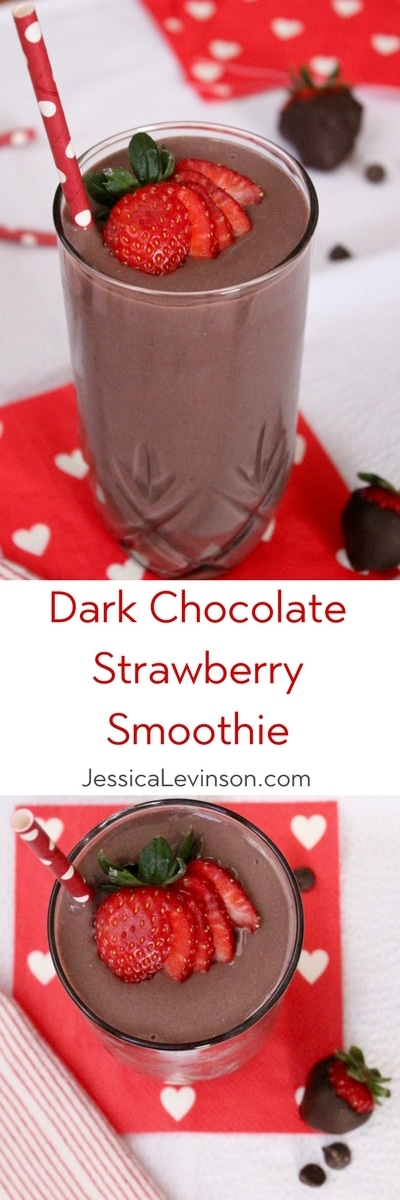 Dark chocolate, creamy greek yogurt, and sweet strawberries are the perfect combination in this frosty, heart-healthy Valentine's Day Dark Chocolate Strawberry Smoothie! #smoothie #chocolate #strawberry #valentinesday #healthyrecipes