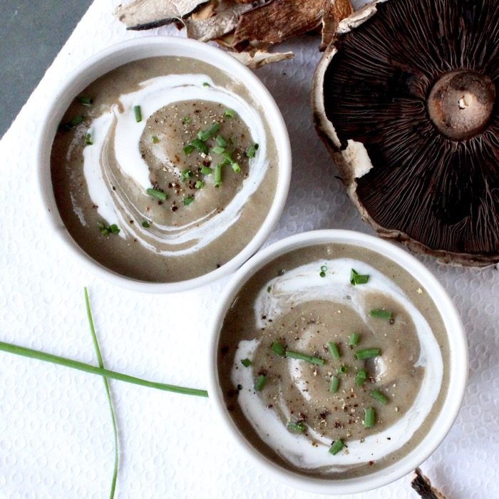 Satisfy your cravings for an umami-rich meal with this gluten-free and vegetarian thick and creamy pureed mushroom soup - no cream added! | Get the recipe at JessicaLevinson.com | #mushroomsoup #mushroomrecipes #soup #mushroomaday