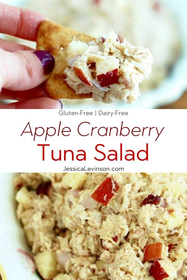 Apple Cranberry Tuna Salad Collage with Text Overlay
