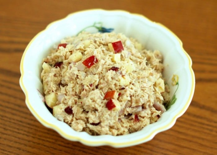 Apple Cranberry Tuna Salad in Bowl