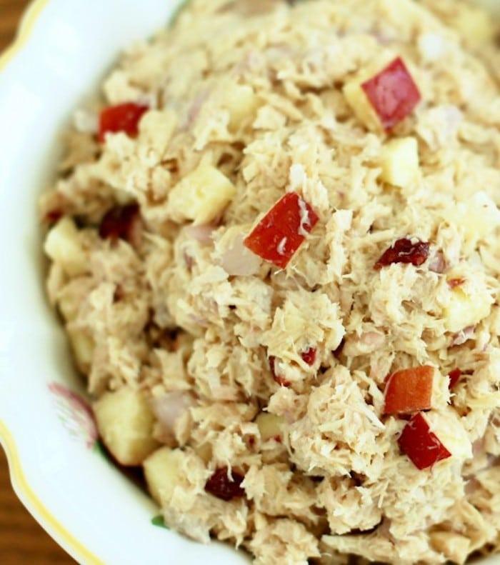 Apple Cranberry Tuna Salad Close Up