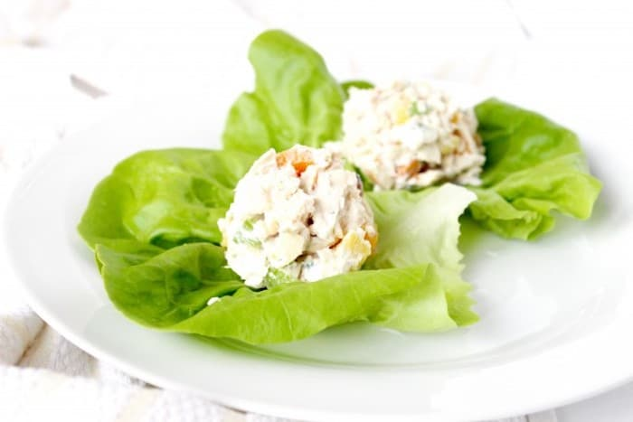 Apricot Pineapple Chicken Salad Over Lettuce