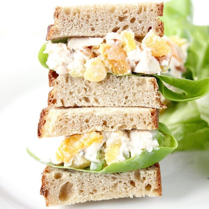 Apricot Pineapple Chicken Salad Sandwich on Plate