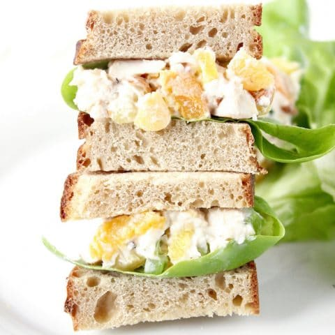Switch up your regular chicken salad with this Apricot Pineapple Chicken Salad lightened up with Greek yogurt. Get the recipe at JessicaLevinson.com | #chickensalad #picnicfood #glutenfree #chickenrecipes